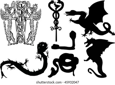 illustration with black heraldic reptiles isolated on white background
