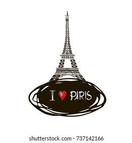 Illustration black ink Eiffel Tower. Vector decorations isolated on white background. Handwritten inscription Paris.