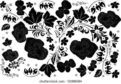 illustration with black ornament on white background