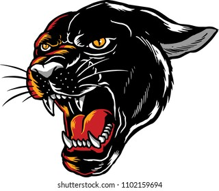 Illustration of a black panther with angry face expression.