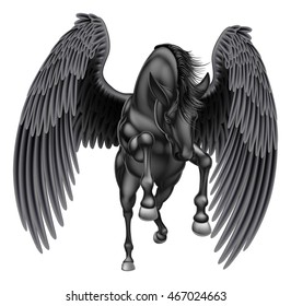 An illustration of a black pegasus mythological winged horse rearing on its hind legs or running or jumping seen from the front