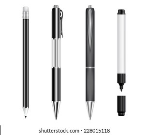 Illustration of black pens, pencil and marker isolated
