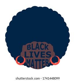 illustration of a black person. black lives matter emblem. poster with black women. Modern abstract design