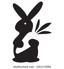 illustration of a black rabbit animal icon