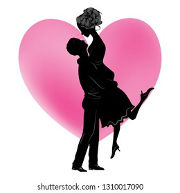Illustration black silhouette of lovers embracing on a heart silhouette. Couple in love. llustration of  lovers man and woman.