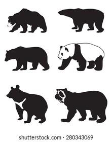 illustration of black silhouettes of bears