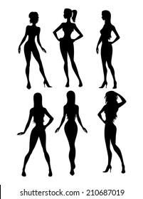 Illustration of black six girls silhouette
