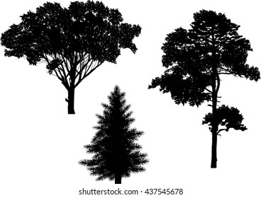 illustration with black trees isolated on white background