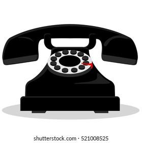 Illustration of black vintage phone on white background