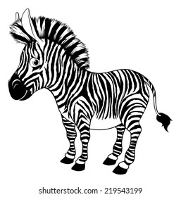 An illustration of a black and white cartoon zebra