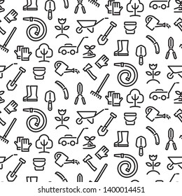 illustration of black and white gardening tools seamless pattern