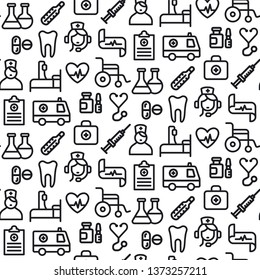 illustration black and white medicine seamless pattern