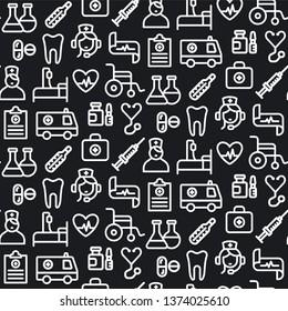 illustration black and white medicine seamless pattern