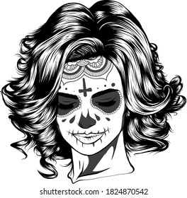 Illustration of black and white skull girl with rose in hairs on white background