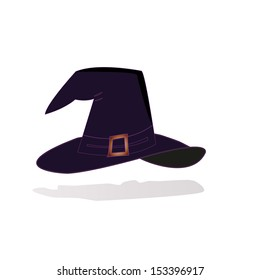 Illustration of black witch hat, good for halloween, on white background