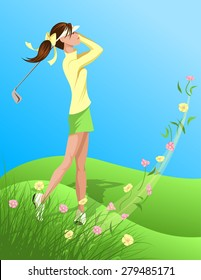 Illustration of a black young woman golfer swinging out of the rough of long grass and colorful flowers
