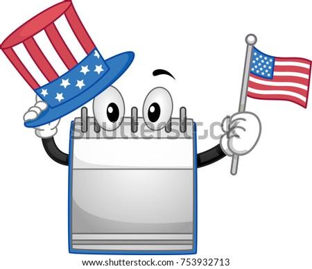 Illustration Blank Calendar Holding US Flag Stock Vector Royalty