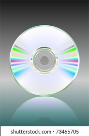Illustration of blank CD or DVD disc with reflection. Vector.