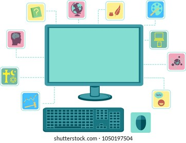 Illustration of a Blank Computer Showing Ten Dewey Decimal Class Icons from Computer Science to History
