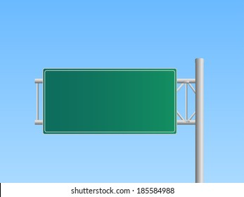 Illustration of a blank highway sign with a blue sky background.