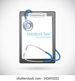 illustration of blank paper in clipboard with stethoscope