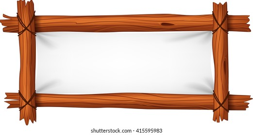 Illustration of blank sign with wood frame