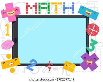 Illustration of a Blank Tablet or Mobile Phone Screen Frame with Math Operator Mascots