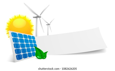 illustration of a blank white banner and green energy symbols around it, eco concept, eps10 vector