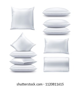 Illustration of blank white square and rectangular pillows. Vector realistic set of cushions top and front view isolated on white background