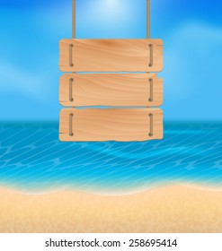 Illustration blank wooden sign on beach, natural seascape - vector