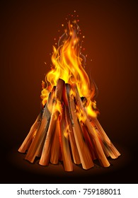 illustration of blazing bonfire inferno fire on wood for outdoor camping or Lohri celebration
