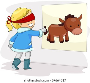 Illustration of a Blindfolded Girl Playing Pin the Donkey's Tail