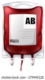 Illustration of a blood bag with type AB blood on a white background