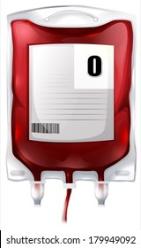 Illustration of a blood bag with type O blood on a white background