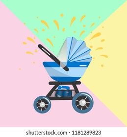 Illustration of blue Baby stroller for baby boy with bag in basket. Vector icon. Print for clothes, bags, postcard, element of logo for baby shop.