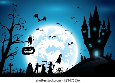 illustration blue background concept,festival halloween,full moon on dark night with many ghost and devil walking to castle for celebration halloween day