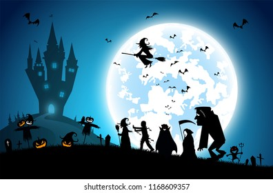 illustration blue background,festival halloween concept,full moon on dark night with many ghost,scarecrow,frankenstein and devil walking to castle for celebration halloween day