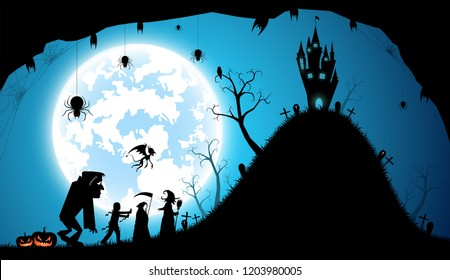 illustration blue background,festival halloween concept,full moon on dark night with many ghost,zombie,frankenstein and devil walking to castle for celebration halloween day
