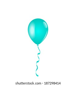 Illustration blue balloon isolated on white background - vector