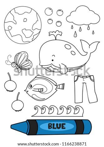 Illustration Blue Crayon Blue Elements Coloring Stock Vector