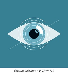 Illustration of blue eye future technology or medical concept.