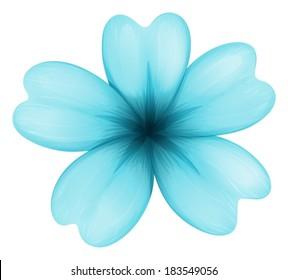 Illustration of a blue five-petal flower on a white background