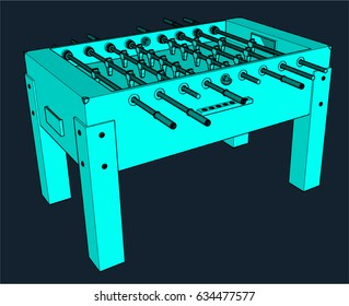Illustration of a blue Foosball table in wire frame style