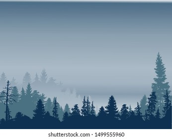illustration with blue forest in grey mist