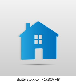 Illustration of a blue house isolated on a white background.