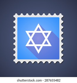 Illustration of a blue mail stamp icon with a David star