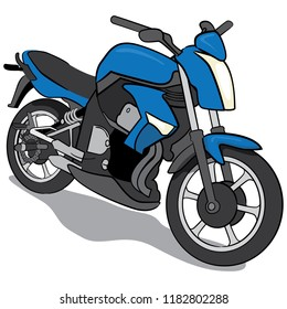 Illustration of a blue motorcycle vehicle. Ideal for institutional materials or catalogs