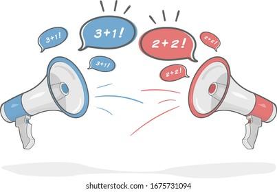 Illustration of Blue and Red Megaphone debating