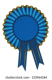illustration of a blue ribbon award with gold trim