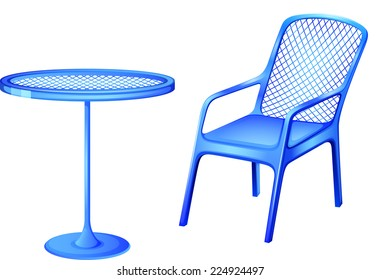 Illustration of a blue table and chair on a white background